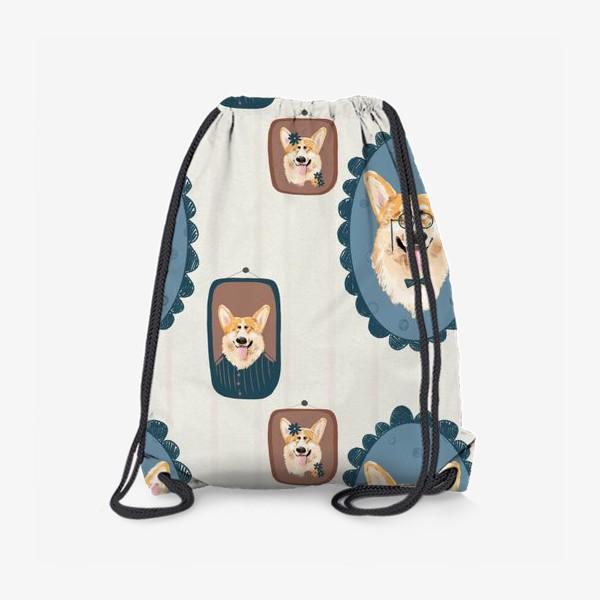 Рюкзак «Корги. Подарок собачнику. Маленькая рыженькая собачка. Паттерн. Портрет собаки. Corgi. Милая собака вельш корги пемборк»