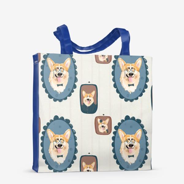 Сумка-шоппер «Корги. Подарок собачнику. Маленькая рыженькая собачка. Паттерн. Портрет собаки. Corgi. Милая собака вельш корги пемборк»