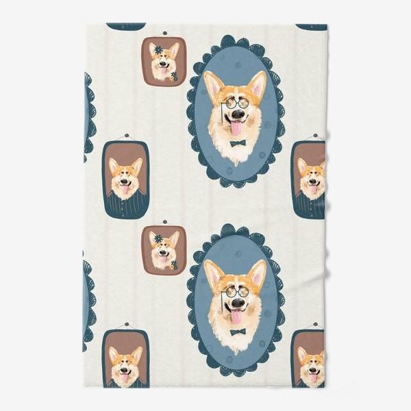 Полотенце «Корги. Подарок собачнику. Маленькая рыженькая собачка. Паттерн. Портрет собаки. Corgi. Милая собака вельш корги пемборк»