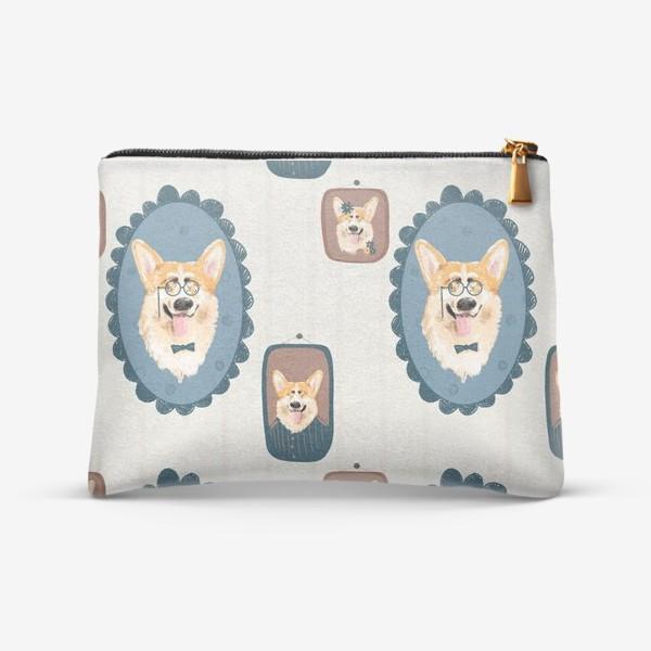 Косметичка «Корги. Подарок собачнику. Маленькая рыженькая собачка. Паттерн. Портрет собаки. Corgi. Милая собака вельш корги пемборк»
