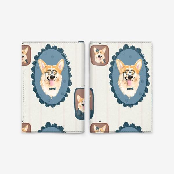Обложка для паспорта «Корги. Подарок собачнику. Маленькая рыженькая собачка. Паттерн. Портрет собаки. Corgi. Милая собака вельш корги пемборк»