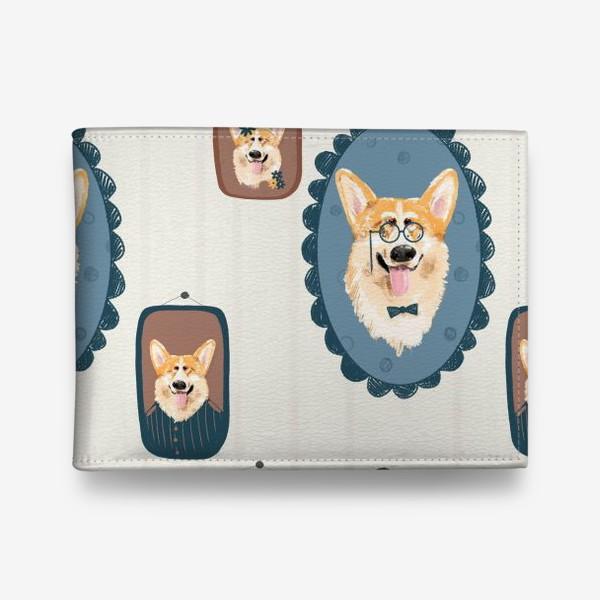 Кошелек «Корги. Подарок собачнику. Маленькая рыженькая собачка. Паттерн. Портрет собаки. Corgi. Милая собака вельш корги пемборк»