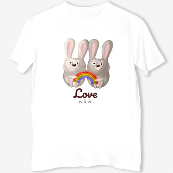 Футболка «ЛГБТ радуга, зайчики, любовь, love is love, 14 февраля, день влюблённых. Принт для гомосексуалов, лесбиянок, геев»