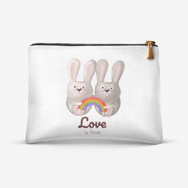 Косметичка «ЛГБТ радуга, зайчики, любовь, love is love, 14 февраля, день влюблённых. Принт для гомосексуалов, лесбиянок, геев»