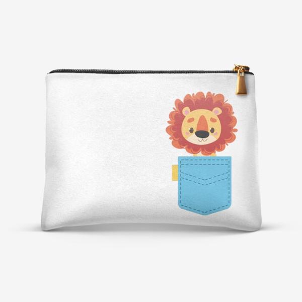Косметичка «Синий карман и лев»