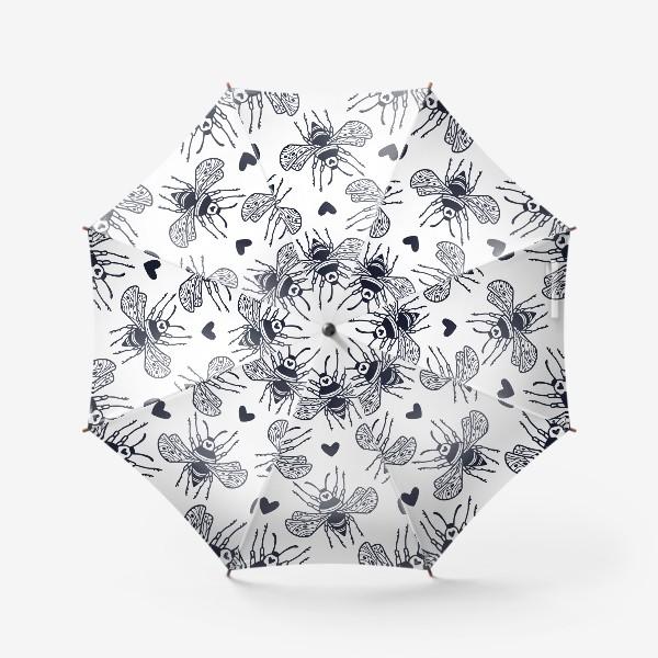 Зонт «Шмели с сердечками»