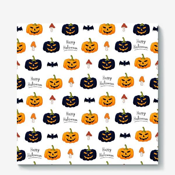 Холст «Красочный паттерн для праздника Хеллоуин с тыквами и летучими мышами»