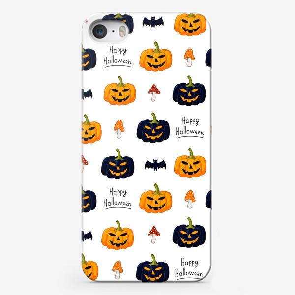 Чехол iPhone «Красочный паттерн для праздника Хеллоуин с тыквами и летучими мышами»