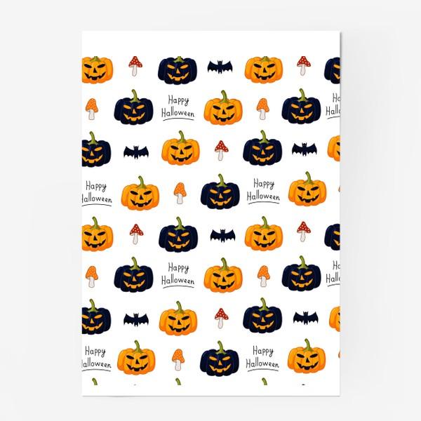 Постер «Красочный паттерн для праздника Хеллоуин с тыквами и летучими мышами»
