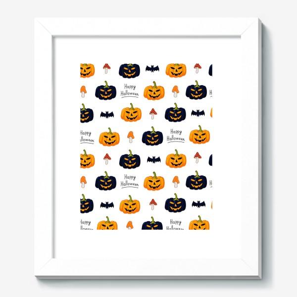 Картина «Красочный паттерн для праздника Хеллоуин с тыквами и летучими мышами»