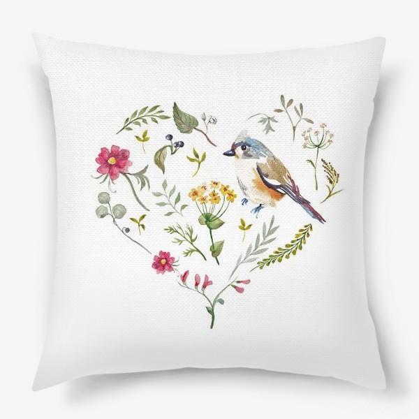 Подушка «Птица любви в сердце»