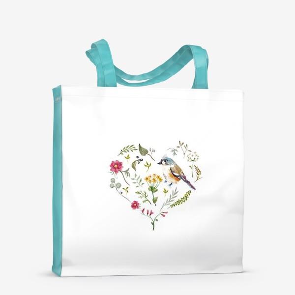 Сумка-шоппер «Птица любви в сердце»