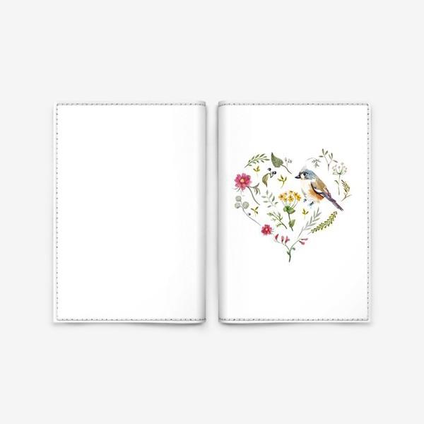Обложка для паспорта «Птица любви в сердце»
