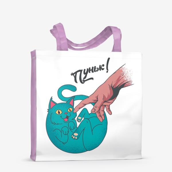 Сумка-шоппер «Пуньк! - Пародия на сотворение Адама с котом»