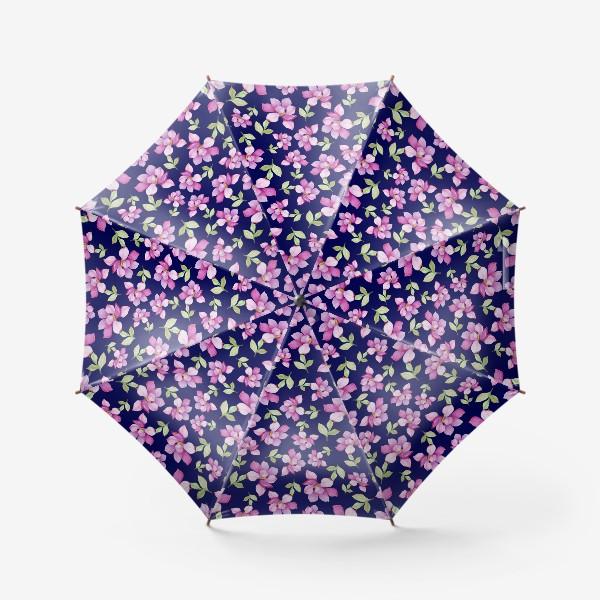 Зонт «Цветы Магнолии на темно-синем фоне»