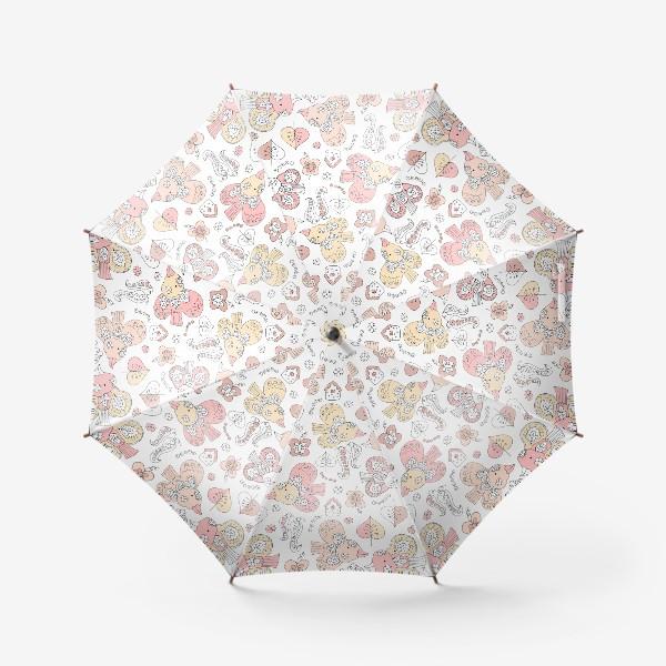Зонт «Паттерн с птицами в пастельных тонах»