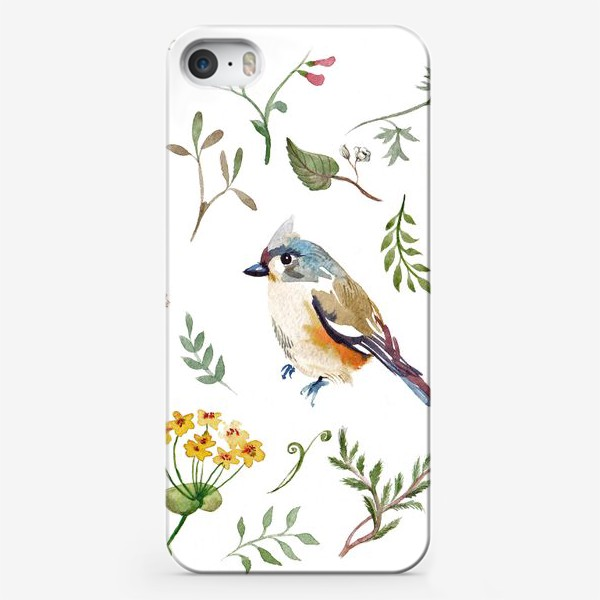 Чехол iPhone «Птица счастья в листьях, текстура»
