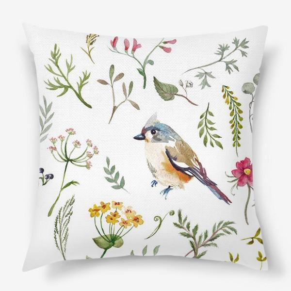 Подушка «Птица счастья в листьях, текстура»