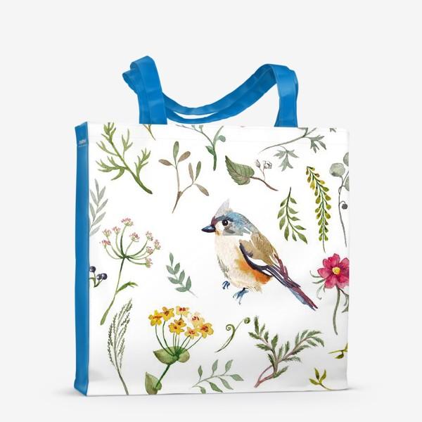 Сумка-шоппер «Птица счастья в листьях, текстура»