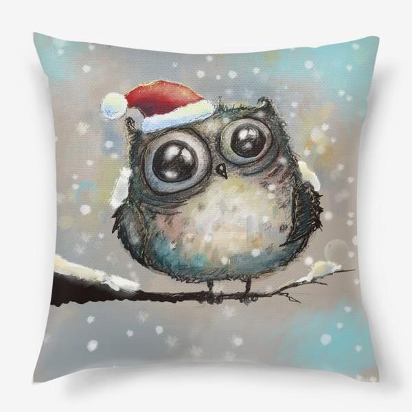 Подушка «Новогодняя кофейная сова»