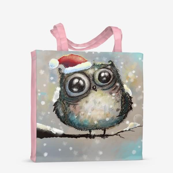 Сумка-шоппер «Новогодняя кофейная сова»