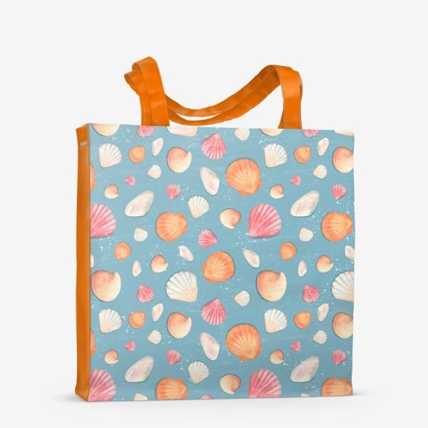 Сумка-шоппер «Паттерн с нежными морскими ракушками »