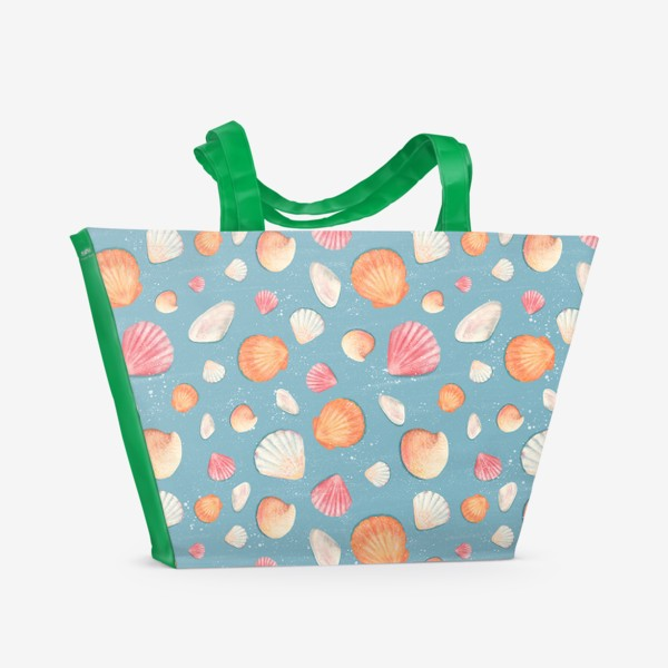 Пляжная сумка «Паттерн с нежными морскими ракушками »