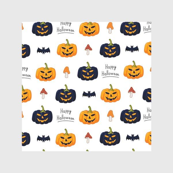 Скатерть «Красочный паттерн для праздника Хеллоуин с тыквами и летучими мышами»