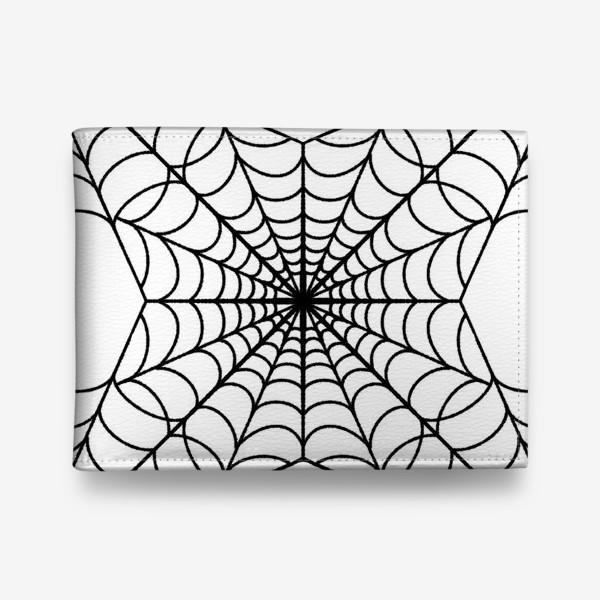 Кошелек «Хэллоуин чёрная паутина на белом фоне»