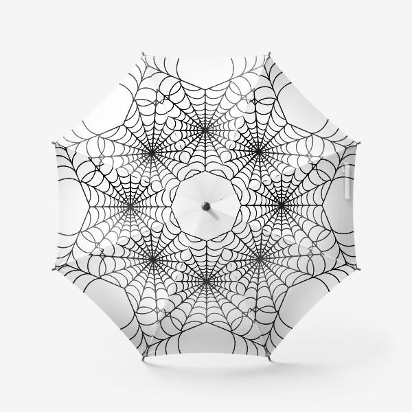 Зонт «Хэллоуин чёрная паутина на белом фоне»