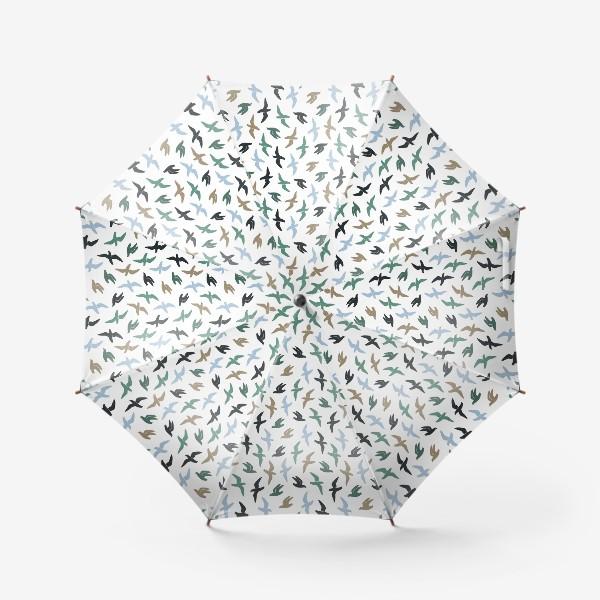 Зонт «Графичные птицы - чайки летают»