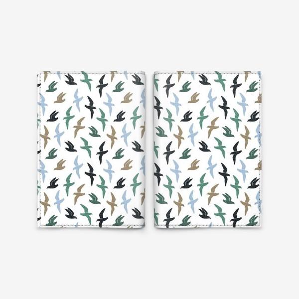 Обложка для паспорта «Графичные птицы - чайки летают»
