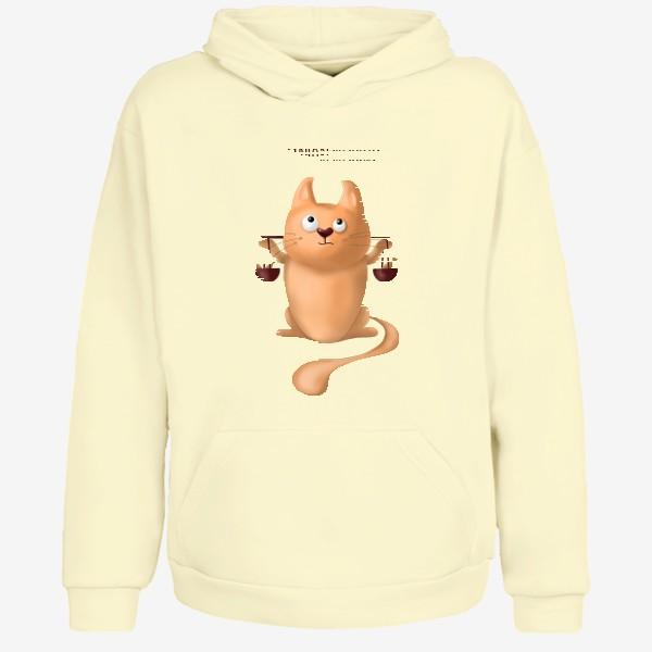 Худи «ВЕСЫ знак зодиака. Милый рыжий кот. Подарок для мужчины весов на день рождения, октябрь, осень. Уравновешенный, дзен»