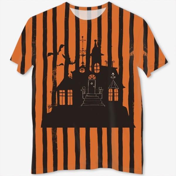 Футболка с полной запечаткой «Хэллоуин, замок»