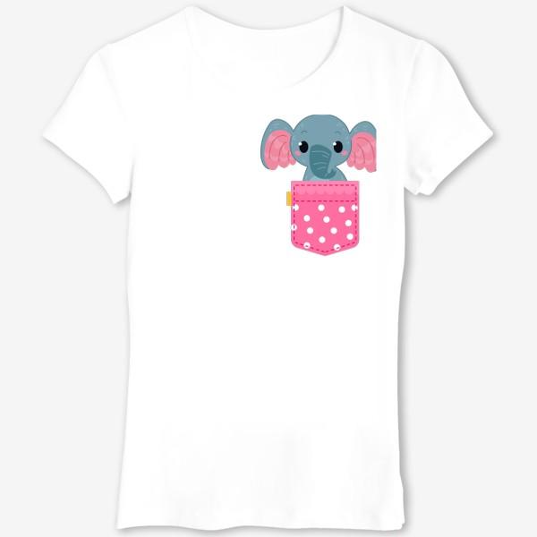 Футболка «Розовый в горошек карман со слоном»