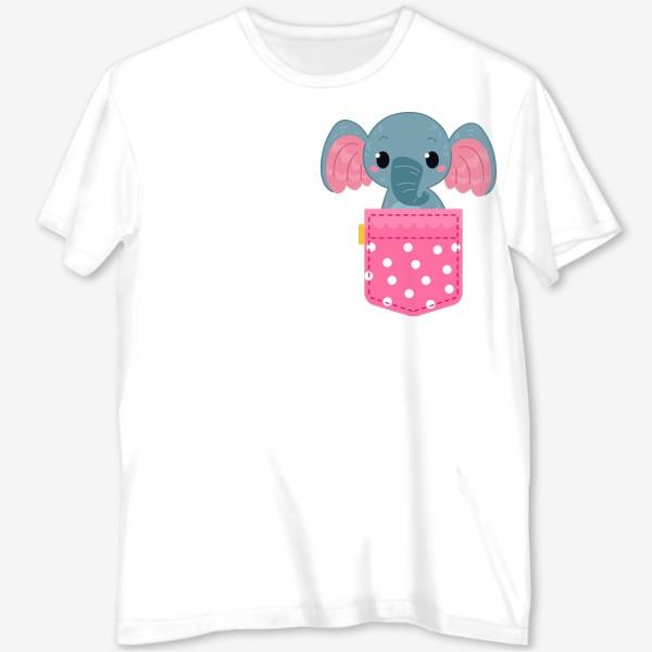 Футболка с полной запечаткой «Розовый в горошек карман со слоном»