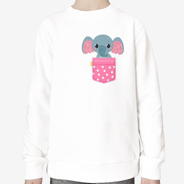 Свитшот «Розовый в горошек карман со слоном»