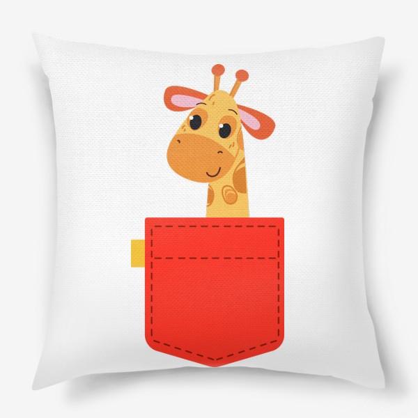 Подушка «Красный карман с жирофом»