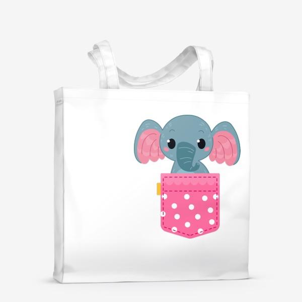 Сумка-шоппер «Розовый в горошек карман со слоном»