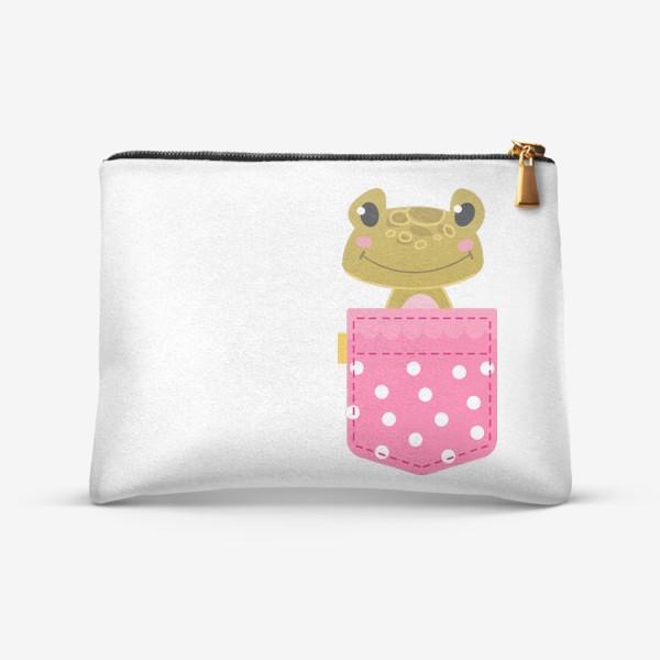 Косметичка «Карман розовый в горошщек с лягушкой»