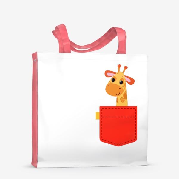 Сумка-шоппер «Красный карман с жирофом»
