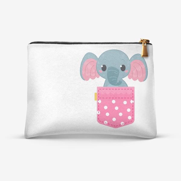 Косметичка «Розовый в горошек карман со слоном»