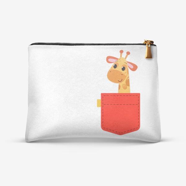 Косметичка «Красный карман с жирофом»