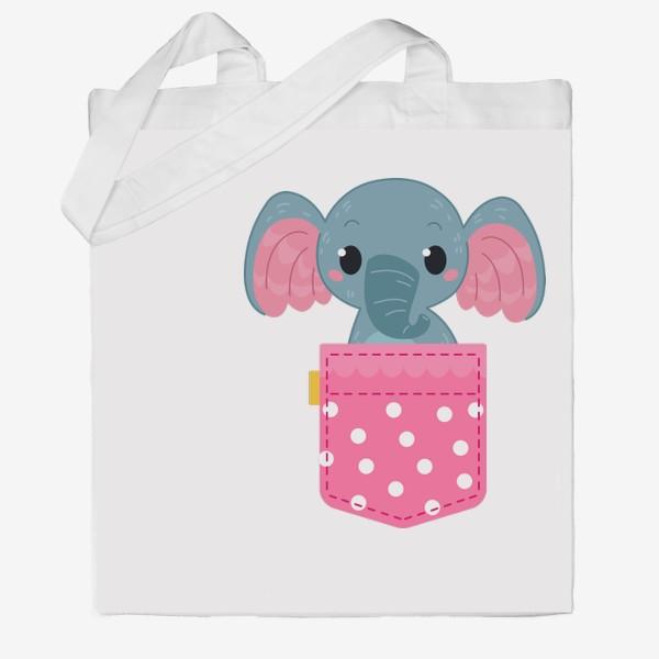 Сумка хб «Розовый в горошек карман со слоном»