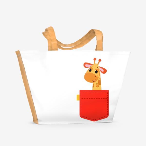 Пляжная сумка «Красный карман с жирофом»
