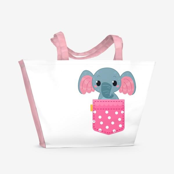 Пляжная сумка «Розовый в горошек карман со слоном»