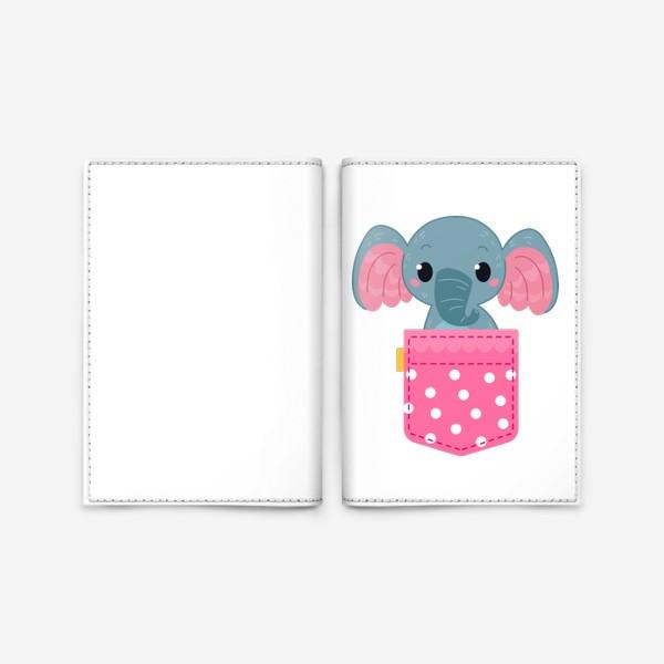 Обложка для паспорта «Розовый в горошек карман со слоном»
