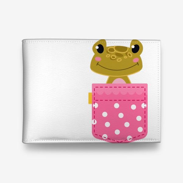 Кошелек «Карман розовый в горошщек с лягушкой»