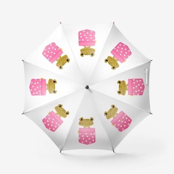 Зонт «Карман розовый в горошщек с лягушкой»