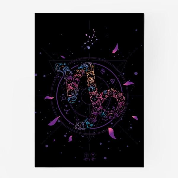 Постер «Цветочный Знак Зодиака Козерог»